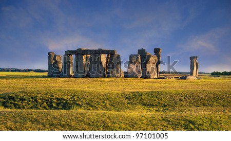 Panoramic view of Stonehenge, megalithic monument in England
