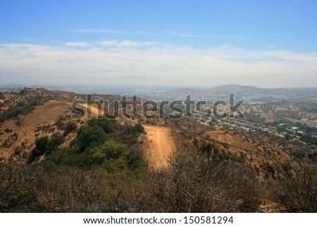 Panoramic view of suburbs from a hill side, California