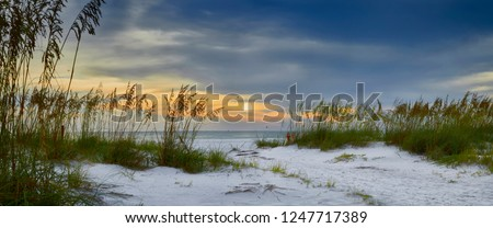 Panoramic view of sun setting over Holmes Beach, Anna Maria Island,Manatee County,America