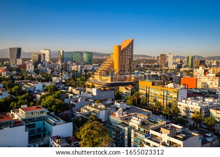 Panoramic View of sunrise in Polanco, Mexico City.