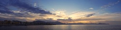 Panoramic view of sunset at Mediterranean sea on Sicily.