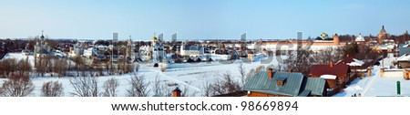 Panoramic view of Suzdal in winter. Russia