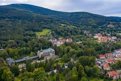 Panoramic view of Swierardow Zdroj. Beautiful town of Lower Silesia.