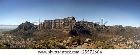 Panoramic view of Table Mountain and the Twelve Apostles Mountain range, Cape Town South Africa