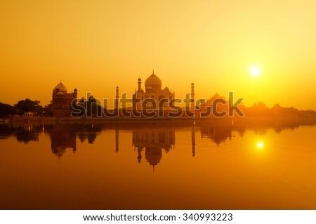 Panoramic view of Taj Mahal at sunset with reflection, Agra, Uttar Pradesh, India. #340993223