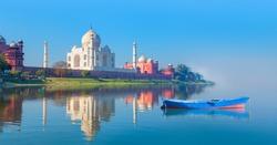 Panoramic view of Taj Mahal reflected in Yamuna river - Agra , Uttar Pradesh, India