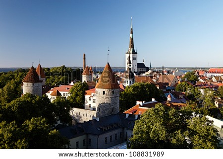 Panoramic view of Tallinn old city center. Estonia