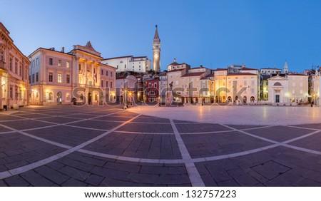 Panoramic view of Tartini square in Piran, Slovenia, Europe