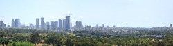 Panoramic view of Tel-Aviv skyline with skyscrapers