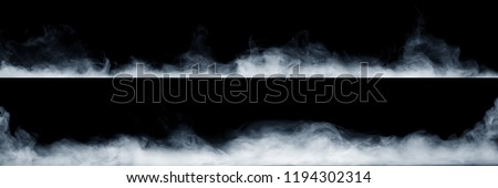 Panoramic view of the abstract fog or smoke move on black background. White cloudiness, mist or smog background.  #1194302314