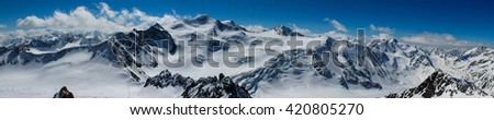 Panoramic view of the Alps in winter #420805270
