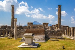 Panoramic view of the ancient city, the ruined ancient columns and the volcano Vesuvius, Pompeii (Scavi di Pompei), Naples, Italy.