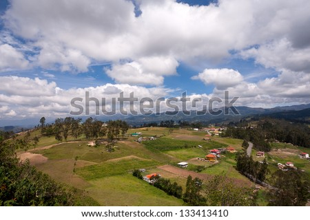 Panoramic view of the Andes Mountains from atop Cojitambo, located near Cuenca, Ecuador.