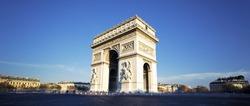 panoramic view of the Arc de Triomphe, Paris, France