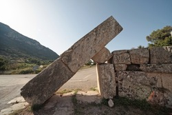 Panoramic view of the Arcadia Gate on the way to go to Ancient Messene,Peloponnese,Greece