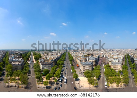 Panoramic view of the architecture of Paris, France.