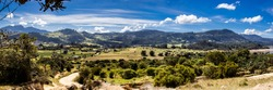 Panoramic view of  the beautiful mountains of the municipality of La Calera located on the Eastern Ranges of the Colombian Andes