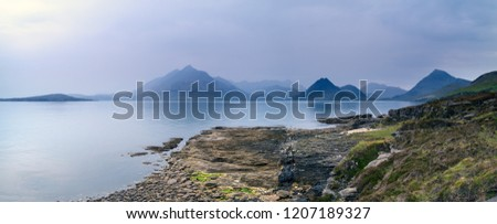 Panoramic view of the Black Cuillin Mountains and Sea Loch Scavaig as seen from Elgol on the Scottish Island of Skye, Scotland, UK