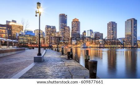 Panoramic view of the Boston Harbor in Boston, Massachusetts, USA at night.