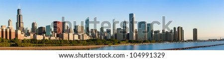 Panoramic view of the Chicago Skyline at Sunrise