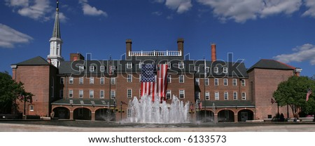 Panoramic view of the city administration in old town in Alexandria City, Virginia. Besides serving an administrative purpose the square is home to farmers' markets and events