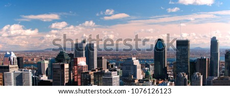 Panoramic view of the city of Montreal with sunset light