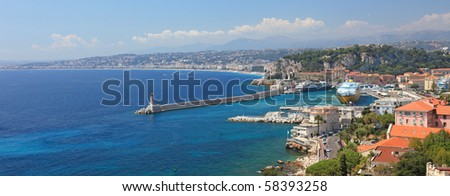 Panoramic view of the city of Nice, France.