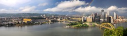 Panoramic view of the city of Pittsburgh with rainbow in late afternoon - LARGE
