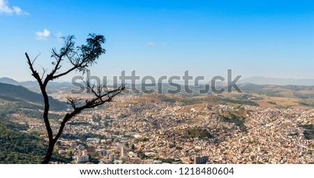 Panoramic view of the city of Poços de Caldas in Minas Gerais. Brazil
