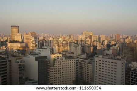 Panoramic view of the city of Sao Paulo and pollution on the horizon