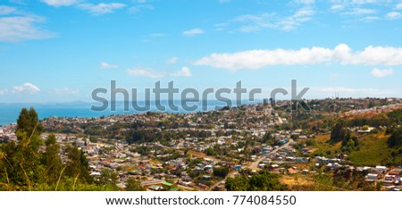 Panoramic view of the city of Tome, Bio Bio region, Chile
