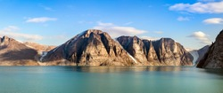 Panoramic view of the cliffs and mountains in Buchan Gulf, Baffin Island, Canada.