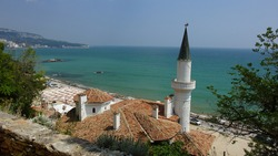 Panoramic view of the coast and Palace Balchik. Former residence of the Romanian Queen Maria. Bulgaria.