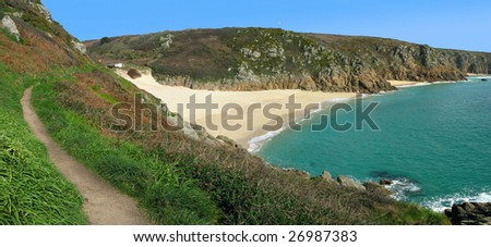 Panoramic view of the coast path to Porthcurno beach, Cornwall UK.