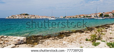 Panoramic view of the Dalmatian coast and sea with yacht from the city of Rovinj Croatia