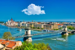 Panoramic view of the Danube River and the Old Town of Budapest with Chain Bridge and Parliament