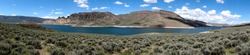 Panoramic view of the Dillon Pinnacles and the Blue Mesa Reservoir at Curecanti National Recreation Area in Gunnison, Colorado