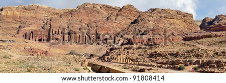 Panoramic view of the facade of the Monastery in Petra, Jordan