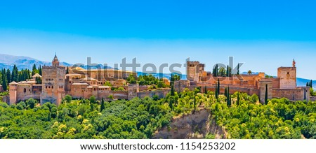 Panoramic view of the famous Alhambra, Granada, Spain.