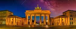panoramic view of the famous brandenburg gate (Brandenburger Tor) in Berlin in the evening