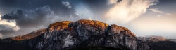 Panoramic View of the Famous Chief Mountain. Dark Sunset Sky Art Render. Located in Squamish, North of Vancouver, British Columbia, Canada. Nature Background Panorama