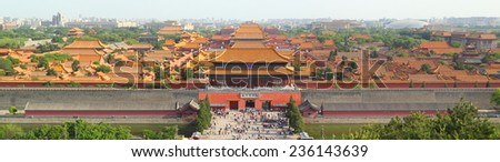 Panoramic view of the forbidden city in beijing (China)