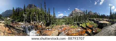Panoramic view of the Giant Steps, Lake Louise, Banff National Park, Alberta, Canada