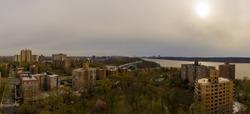 Panoramic view of the Henry Hudson Bridge joining Bronx and Manhattan in New York City.