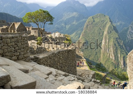 Panoramic view of the hidden Inca sanctuary of Machupicchu. Cusco, Peru, South America.