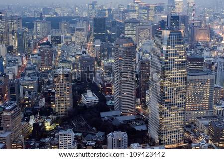 Panoramic view of the high density metropolitan buildings in central Tokyo, Japan
