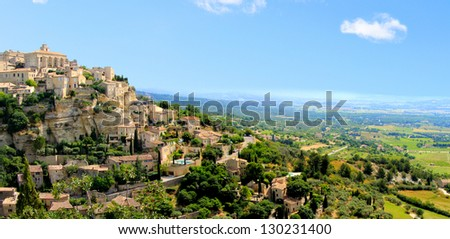 Panoramic view of the hilltop village of Gordes, Provence, France