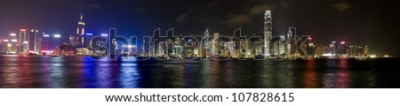 panoramic view of the Hong Kong skyline at evening.