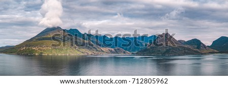 Panoramic view of the iconic Coullin Mountain Ridge from Elgol Beach on the Isle of Skye. Highlands, Scotland, UK