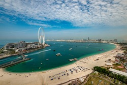 Panoramic view of the JBR beach and Bluewaters Island Dubai.